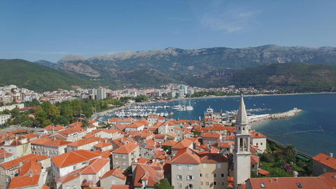 Aerial Landing Over Roofs In Old Town Of Budva Montenegro Footage