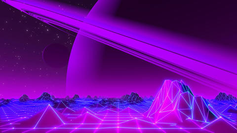 80's VJ Landscape Day and Night Series Animation