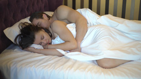 4K Young Couple Sleeping In Bed, Eyes Closed Footage