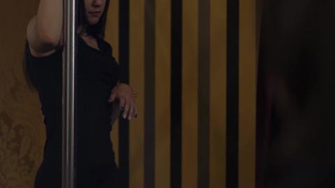 Pole Dance Woman Slow Motion. Erotic Dance Footage