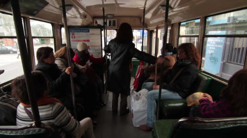 Crowded bus interior Footage