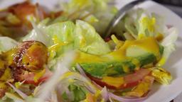 Tossed fish salad Footage
