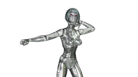 Digital 3D Animation of a dancing female Cyborg Animation