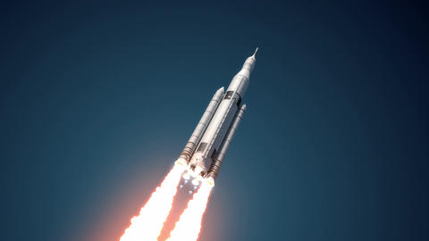 Space Launch System Takes Off. 3D Animation. 4K Animation