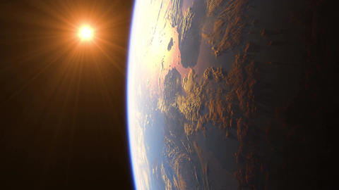 Sunrise Over The Earth. Amazing View Of Planet Earth From Space. Ultra High Defi Animation