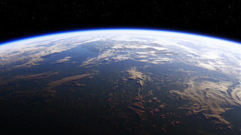 Amazing View Of Planet Earth From Space. Realistic 3d Animation. 4K.Seamless Loo 画像