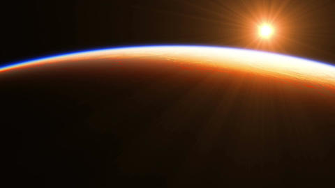 4K. Sunrise Over The Earth. Amazing View Of Planet Earth From Space Animation
