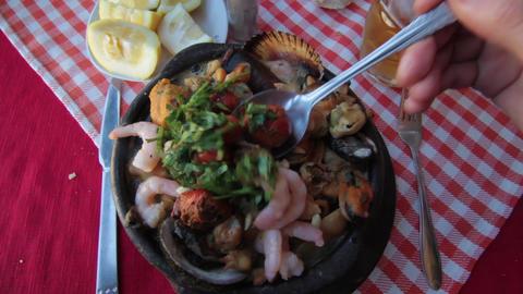 Eating seafood Footage