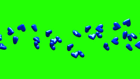 Blue Hearts On Green Chroma Key CG動画
