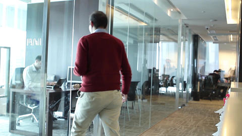 Walking into office Footage