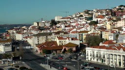 Europe Portugal Lisbon cityscape with bridge seen from harbor Footage