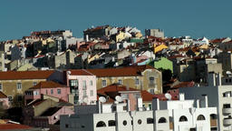 Europe Portugal Lisbon hillside to Tejo river with colorful houses Footage