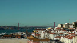 Europe Portugal Lisbon cityscape at Tejo riverbank & 25th of April Bridge Footage