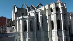 Europe Portugal Lisbon city Convento do Carmo old cathedral in upper town Footage