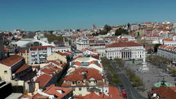 Europe Portugal Lisbon panning shot from Rossio Square to Jardim Augusto Gil Footage