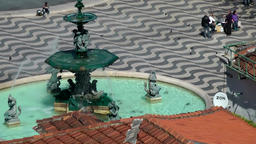 Europe Portugal Lisbon city center water well on Rossio Squale from above Footage