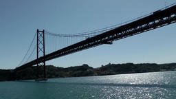 Europe Portugal Lisbon on Tejo river the under 25th of April Bridge Footage