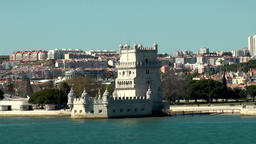 Europe Portugal Lisbon the landmark Belém Tower at Tejo riverbank Footage