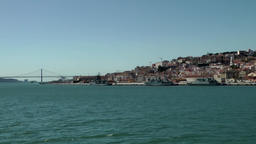 Europe Portugal Lisbon 25th of April Bridge and city Footage