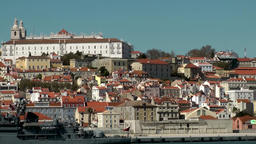 Europe Portugal Lisbon ship goes along Tejo riverbank and city Footage