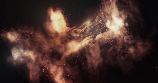 3d Space Flight Around Fiery Phoenix Nebula 4k Animation