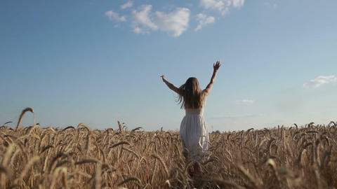 Woman in white dress running through wheat field Footage