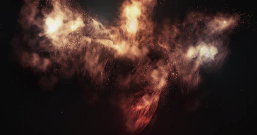 Flying Around Nebula In Space Full 4K Seamless Loop Animation