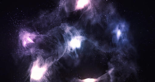 3D Space Flight Around Celestial Nebula in Space Full 4K Animation