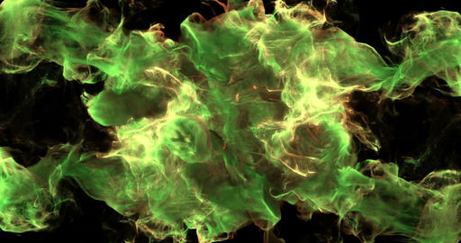 Motion Background VJ Loop - Green and Yellow Particles 4k + Matte Animation