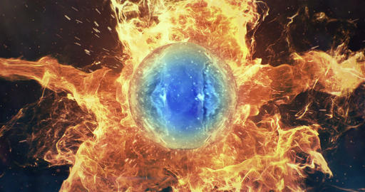 Motion Background VJ Loop - Blue Lens Sphere Orange Fire Particles 4k Animation