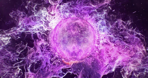 Motion Background VJ Loop - Dark Purple Orange Lens Sphere Particles 4k Animation