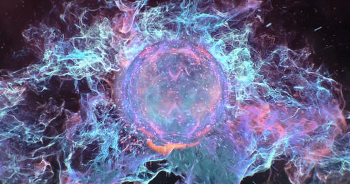 Motion Background VJ Loop - Dark Cyan Orange Lens Sphere Particles 4k Animation
