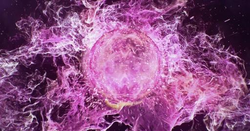 Motion Background VJ Loop - Dark Pink Magenta Yellow Lens Sphere Particles 4k Animation