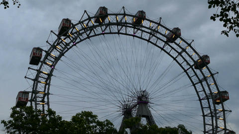 Viennese Giant Ferris Wheel at sunset Live Action