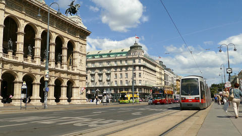 Metro closed doors and drives away at the Vienna State Opera Footage