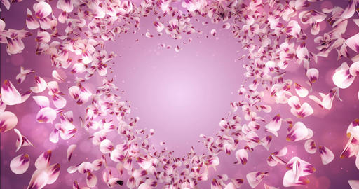 Pink Rose Sakura Flower Petals In Heart Shape Background Placeholder Loop 4k Animation