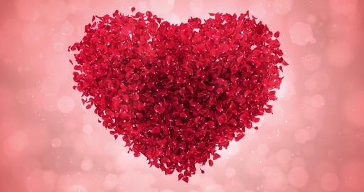 Red Rose Flower Petals In Lovely Heart Shape Background Loop 4k Animation