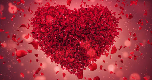 Red Rose Flower Falling Petals Love Heart Valentine Wedding Background Loop 4k Animation