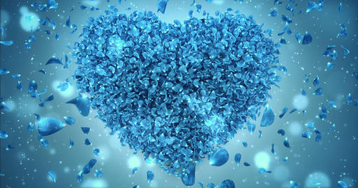 Falling Blue Rose Flower Petals In Lovely Heart Shape Background Loop 4k Animation