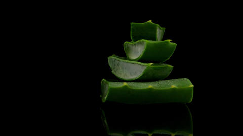 Sliced aloe leaf Footage