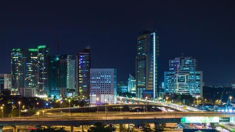 Kuala Lumpur night traffic time lapse Footage