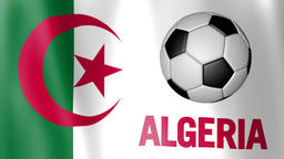 Waving Flag of Algeria with European football rotating Footage