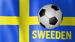 Waving Flag of Sweeden with European football rotating Footage