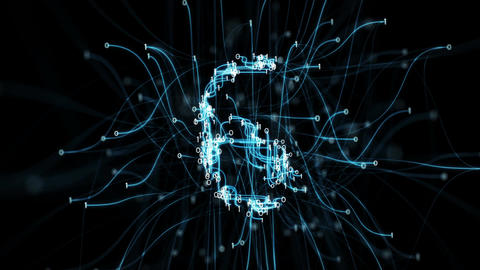 Digital Binary Pipes Plexus Countdown - Abstract Motion Alpha Matte 4k Animation