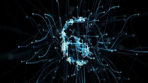 Digital Binary Pipes Plexus Countdown - Abstract Motion Alpha Matte 4k Animación