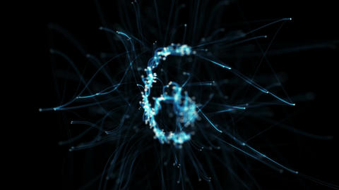 Digital Pipes Plexus Countdown - Rotating Abstract Motion Alpha Matte 4k Animation