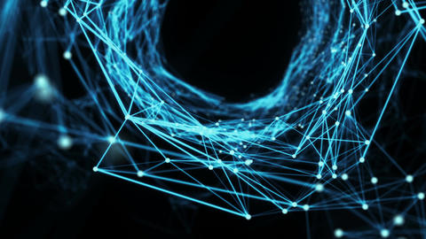 Abstract Motion Background - Digital Plexus Tunnel Loop Animation