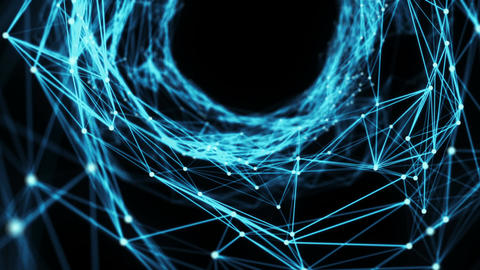 Abstract Motion Background - A Flying Through Digital Plexus Tunnel Animation