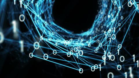 Abstract Motion Background - Digital Binary Plexus Tunnel Loop Animation