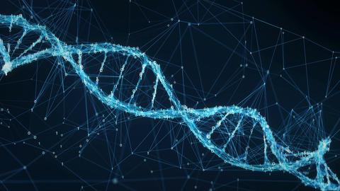 Abstract Motion Background - Digital Binary Plexus DNA molecule 4k Loop Animation